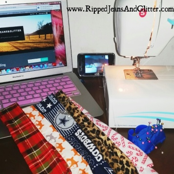 Sewing Machine, Baby Monitor, Blogging and Headbands.... all in an hours nap time!